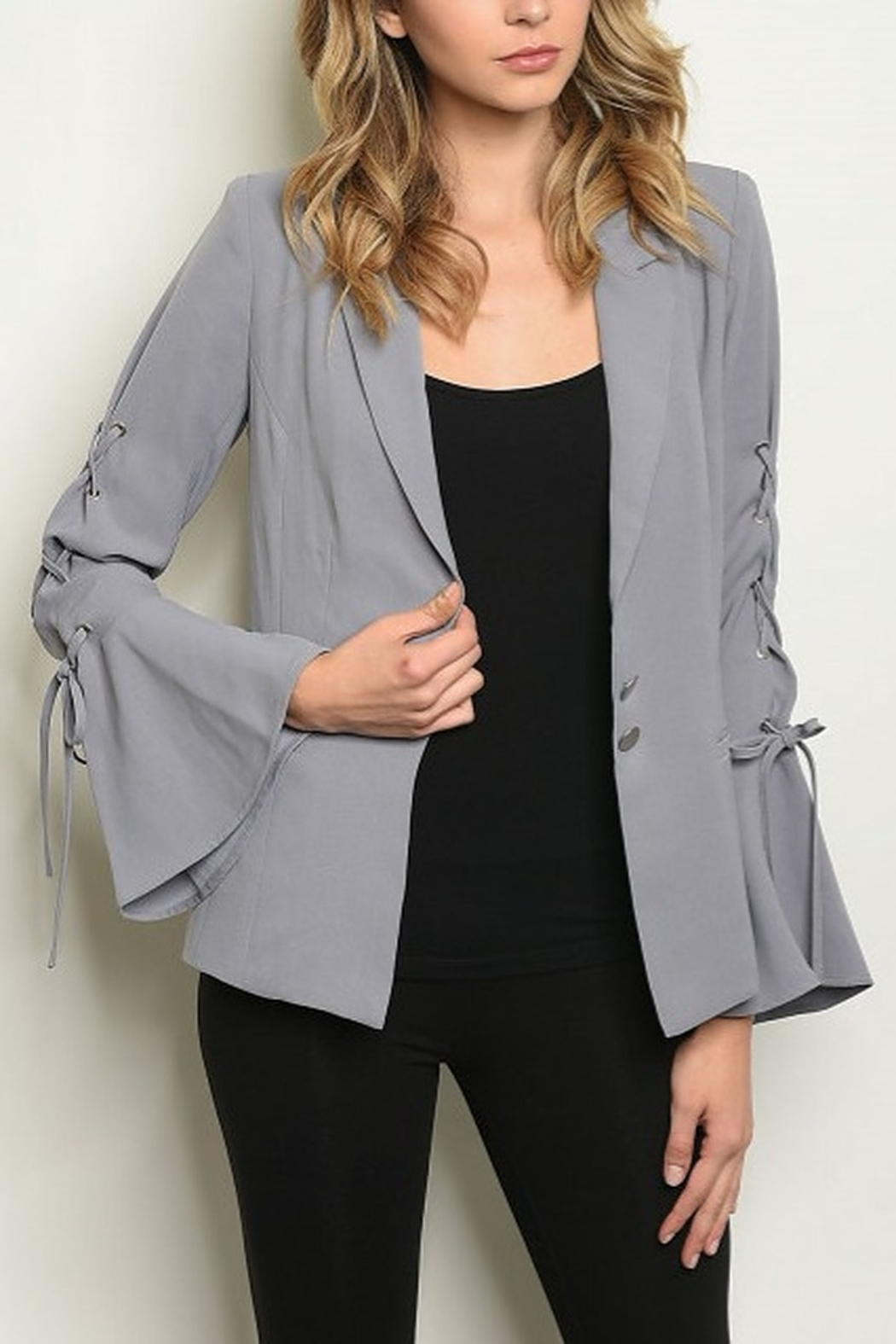 Lyn -Maree's Lace Up, Bell Sleeve Blazer - Main Image