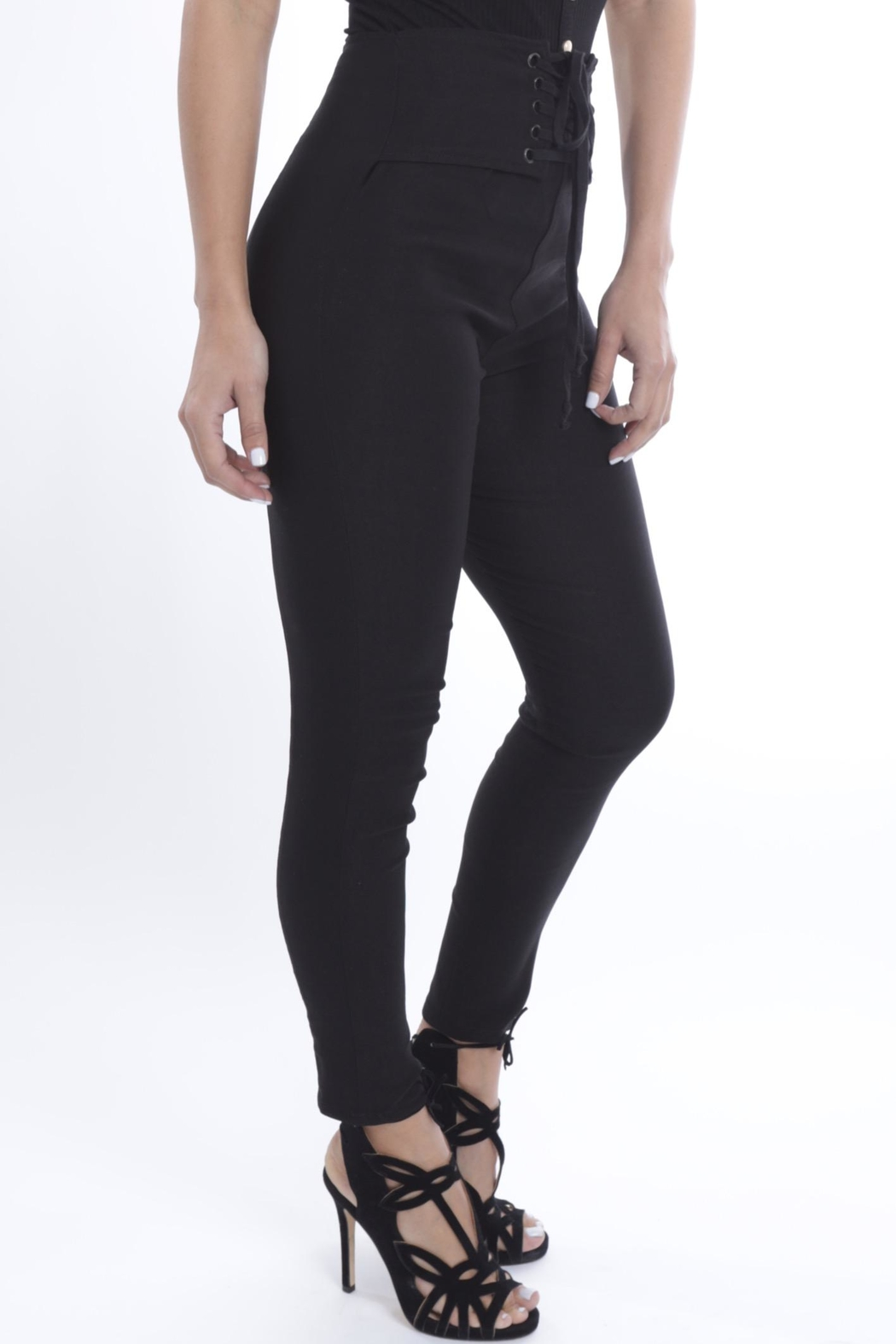 Cattiva Girl Lace-Up Black Pants - Front Full Image