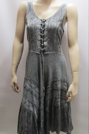 KIMBALS LACE-UP BODICE GREY SHORT DRESS - Product Mini Image