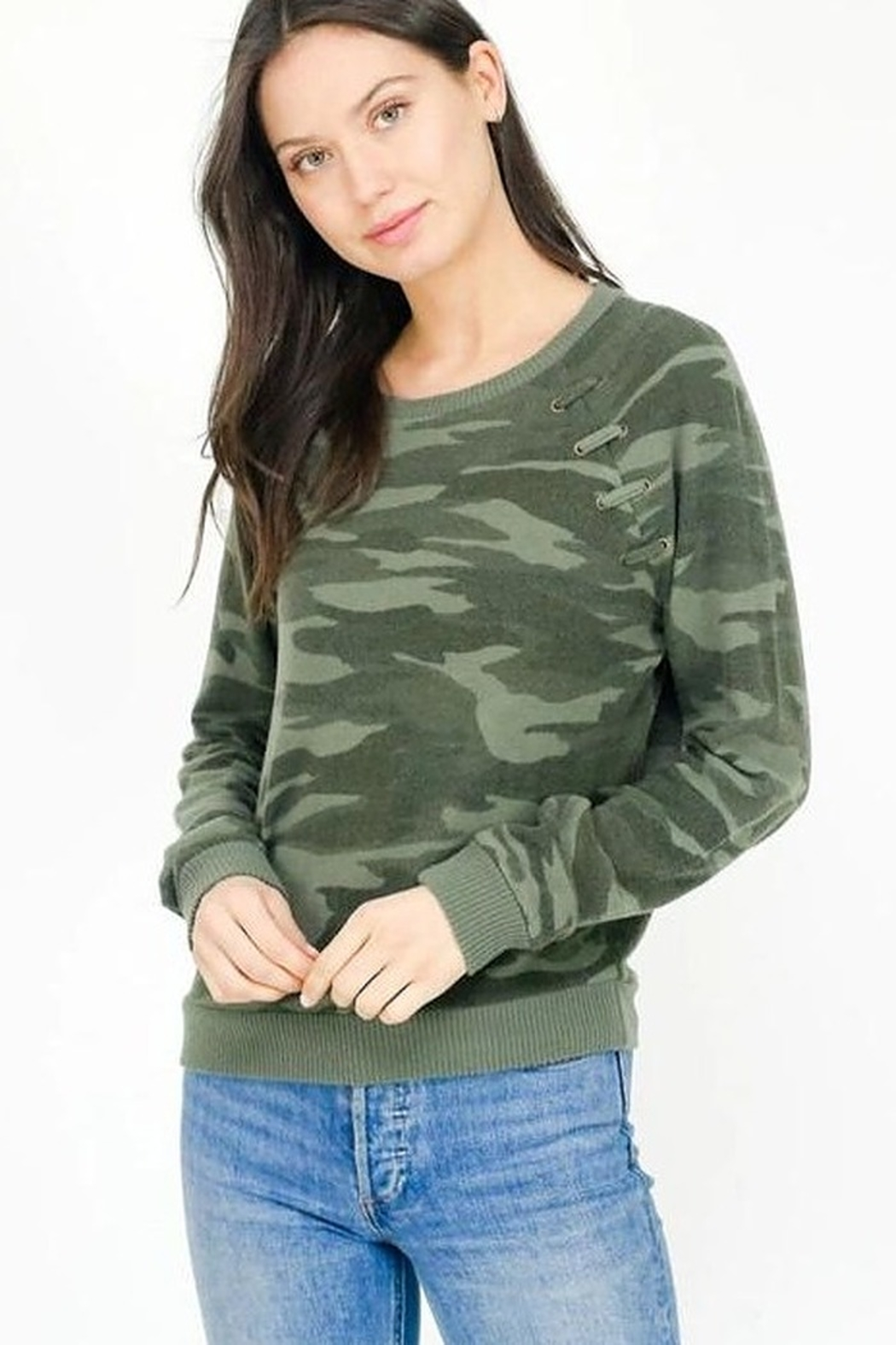 Six Fifty Lace Up Camo Top - Main Image