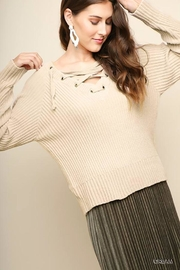 Umgee Lace-Up Chenille Sweater - Product Mini Image