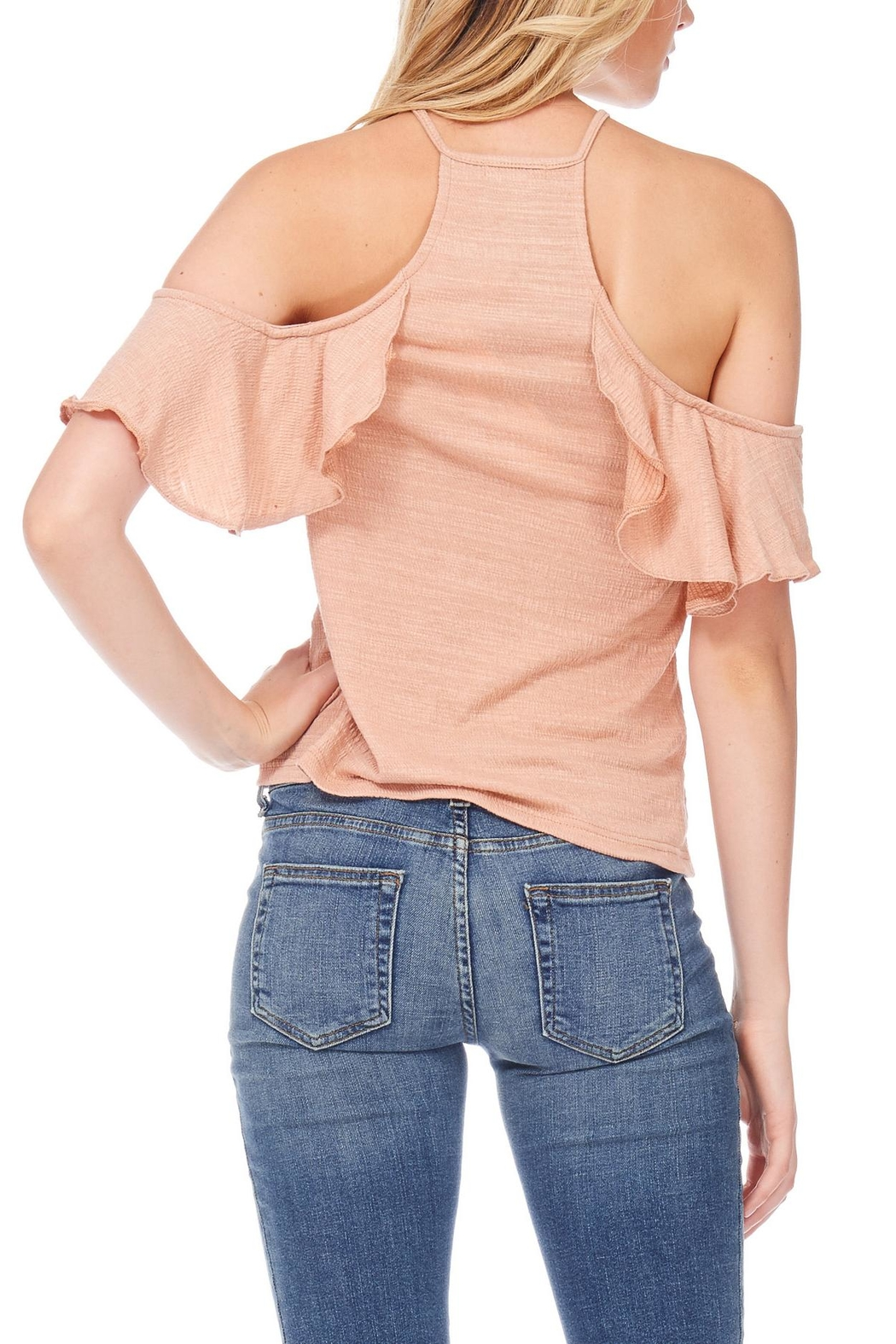 Anama Lace-Up Cold-Shoulder Blouse - Side Cropped Image