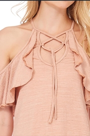 Anama Lace-Up Cold-Shoulder Blouse - Back cropped