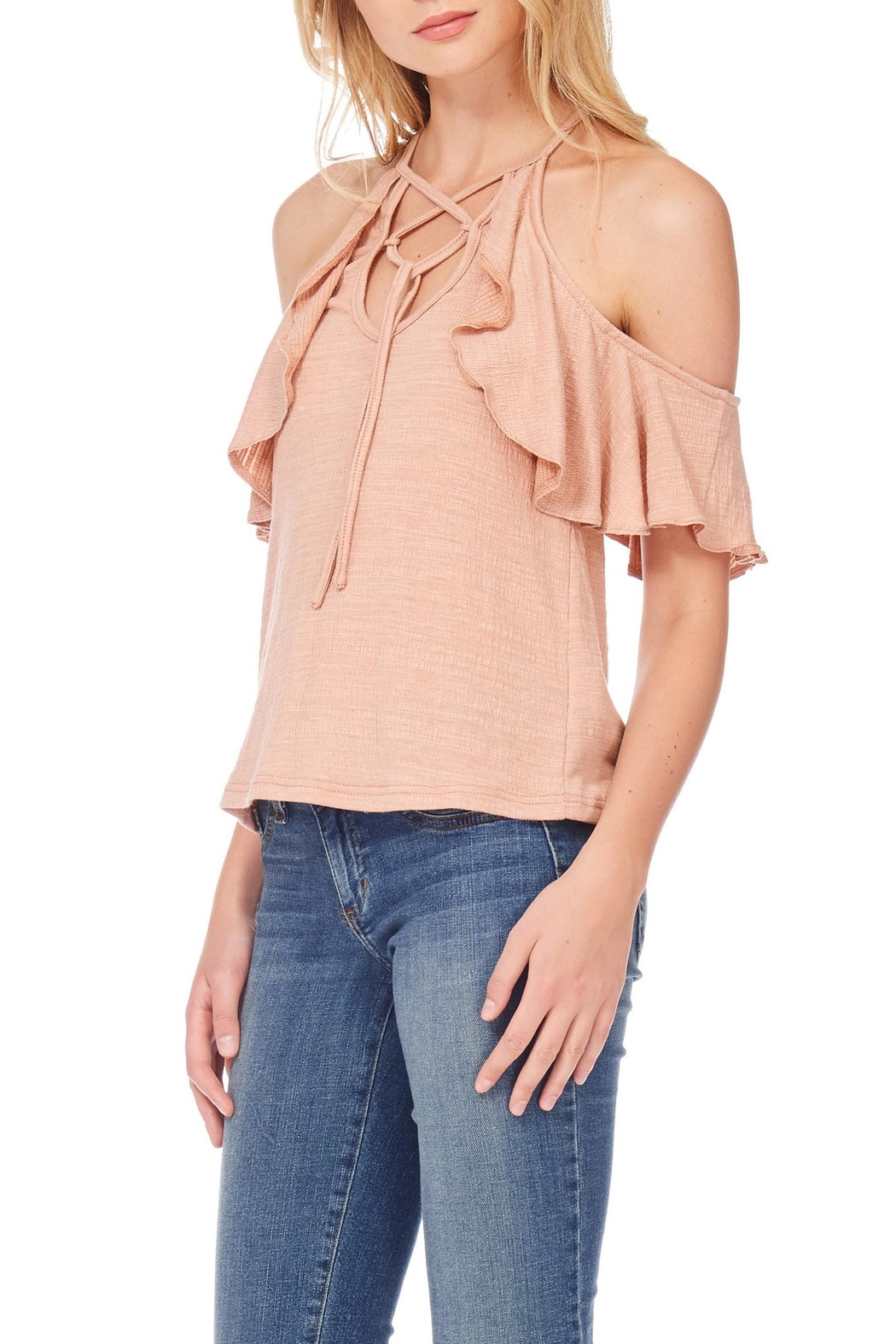 Anama Lace-Up Cold-Shoulder Blouse - Front Full Image