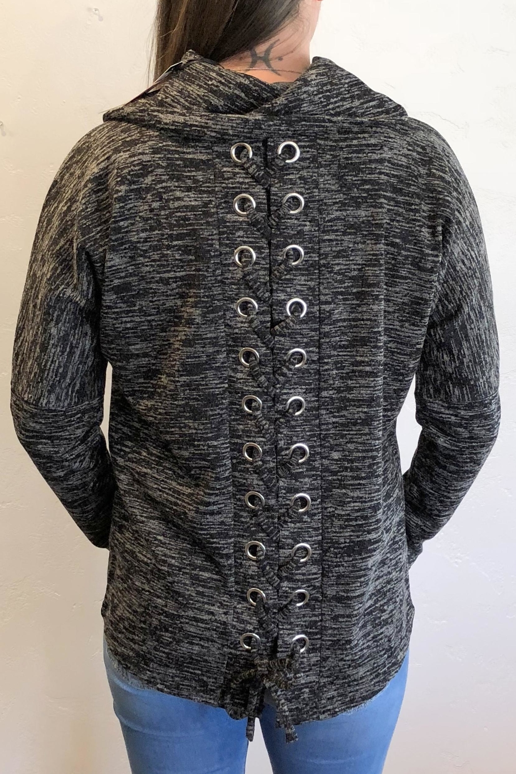 Charlie B. Lace-Up Cowl Sweater - Front Full Image