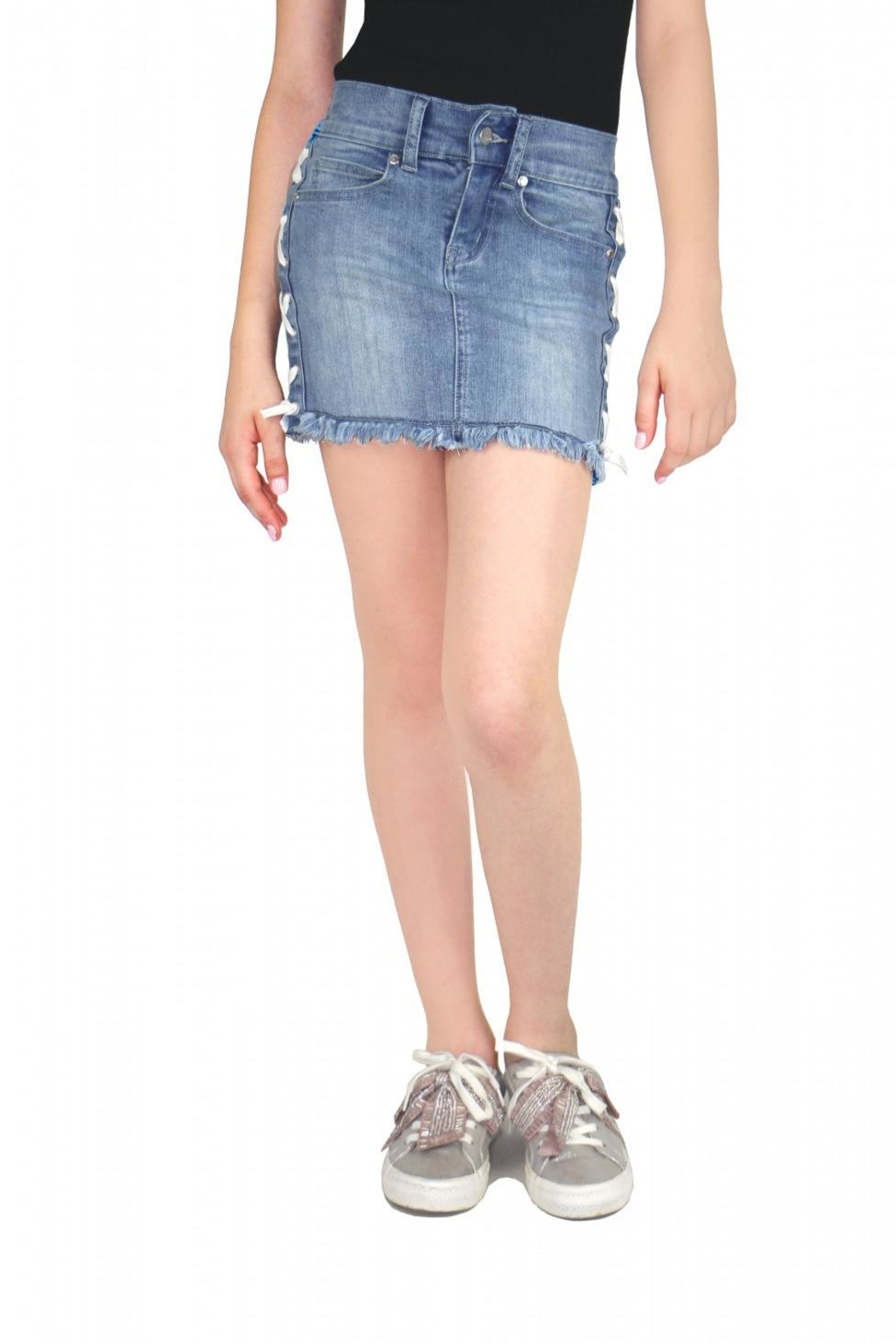 Tractr Lace-Up Denim Skirt - Main Image