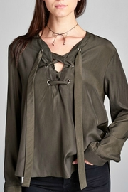 Renee C Lace Up Detail Blouse - Product Mini Image
