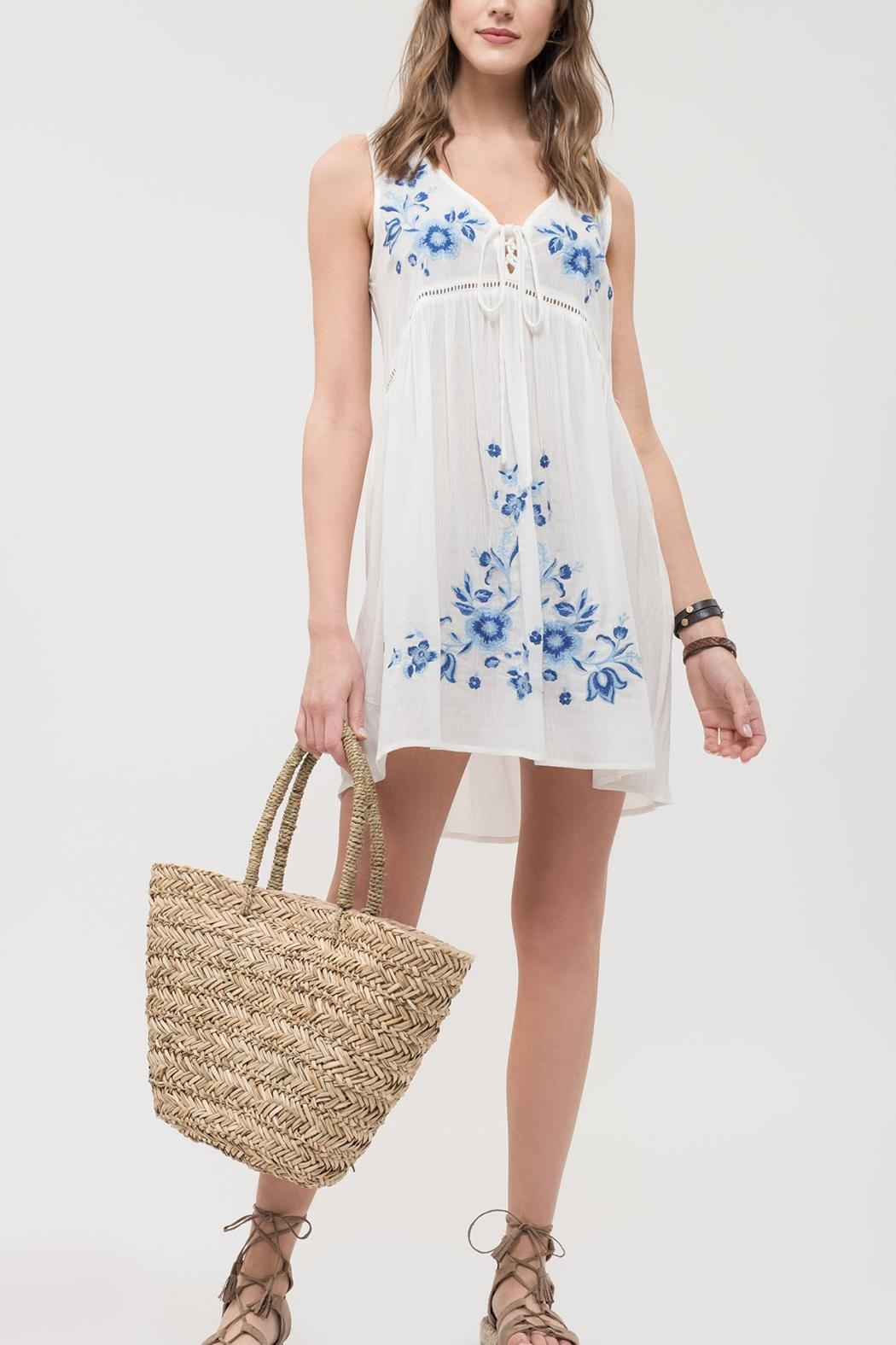 Blu Pepper Lace Up Dress - Front Full Image