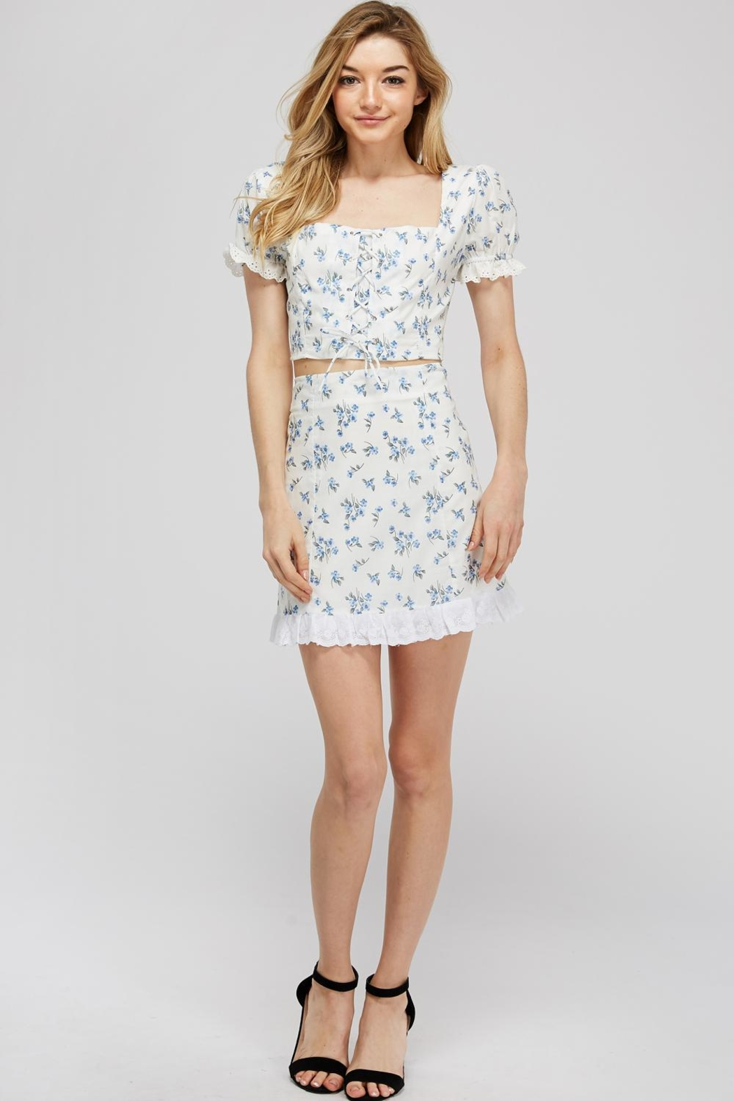 Emory Park Lace-Up Floral Top - Front Full Image