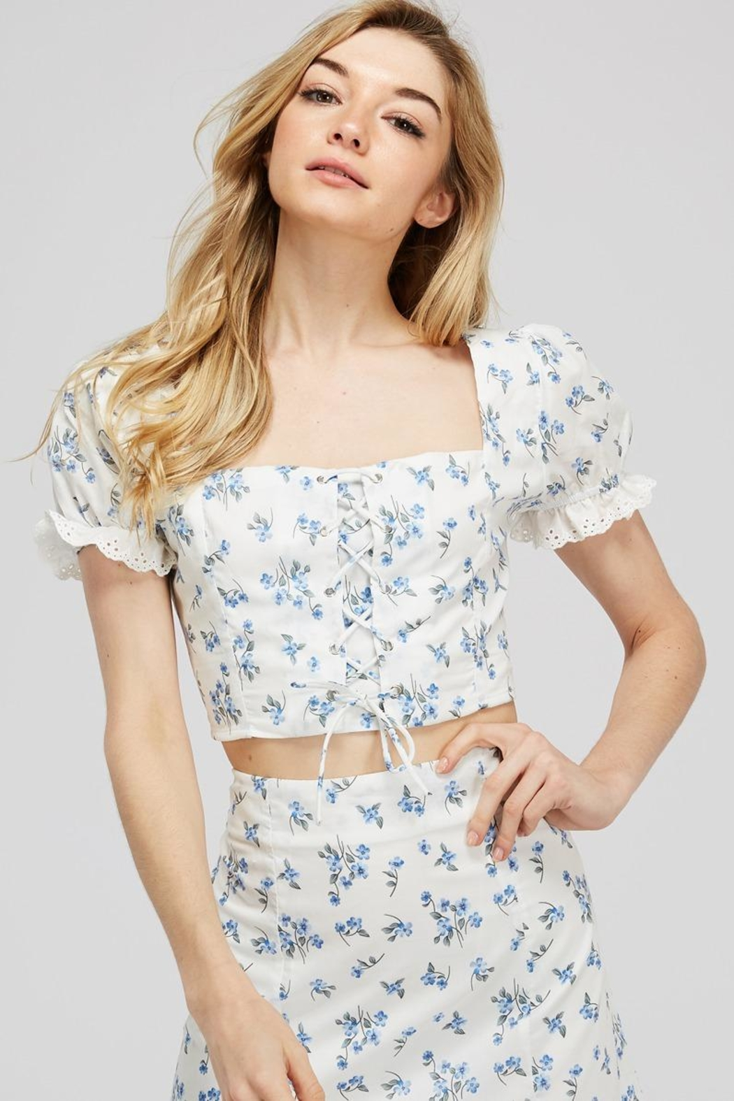 Emory Park Lace-Up Floral Top - Main Image