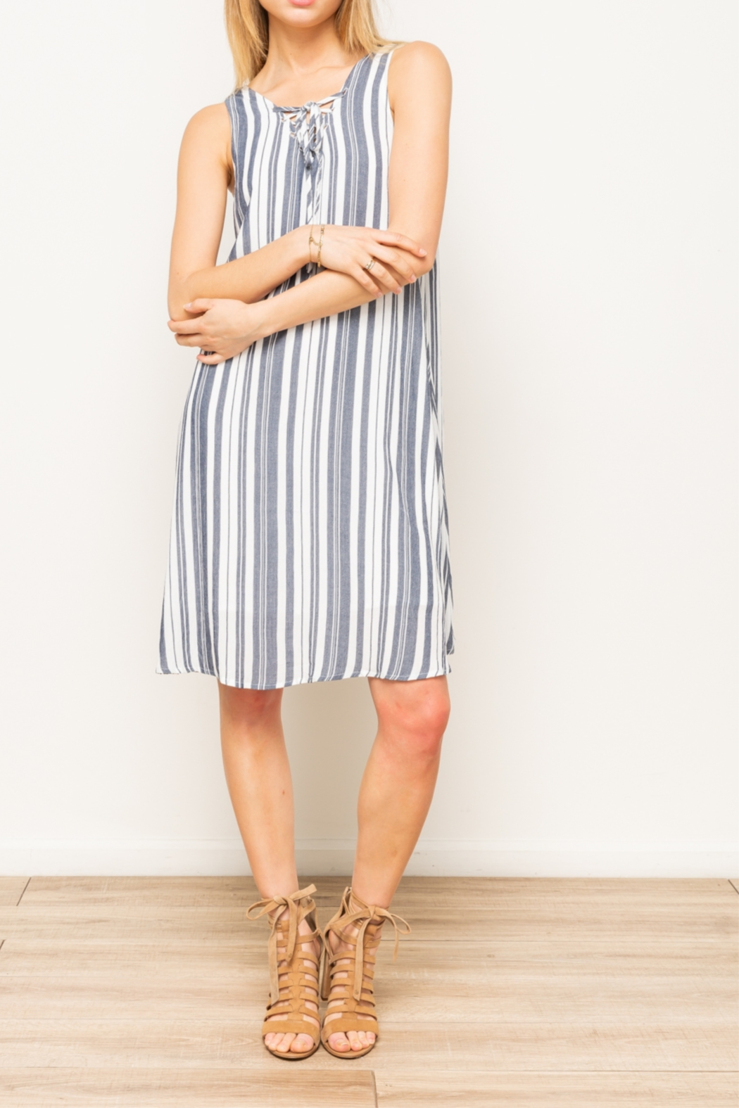 Hem & Thread Lace up front dress - Main Image