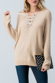 Trend:notes Lace-Up-Front Sweater Top - Product Mini Image
