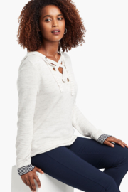 Nic + Zoe  Lace-up grommet hoodie, milk white. - Front cropped