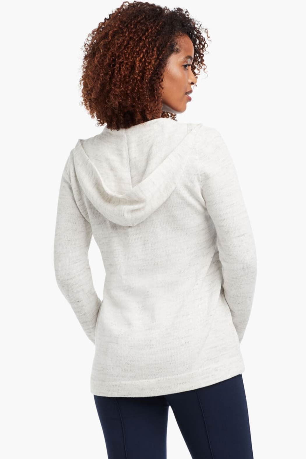 Nic + Zoe  Lace-up grommet hoodie, milk white. - Side Cropped Image