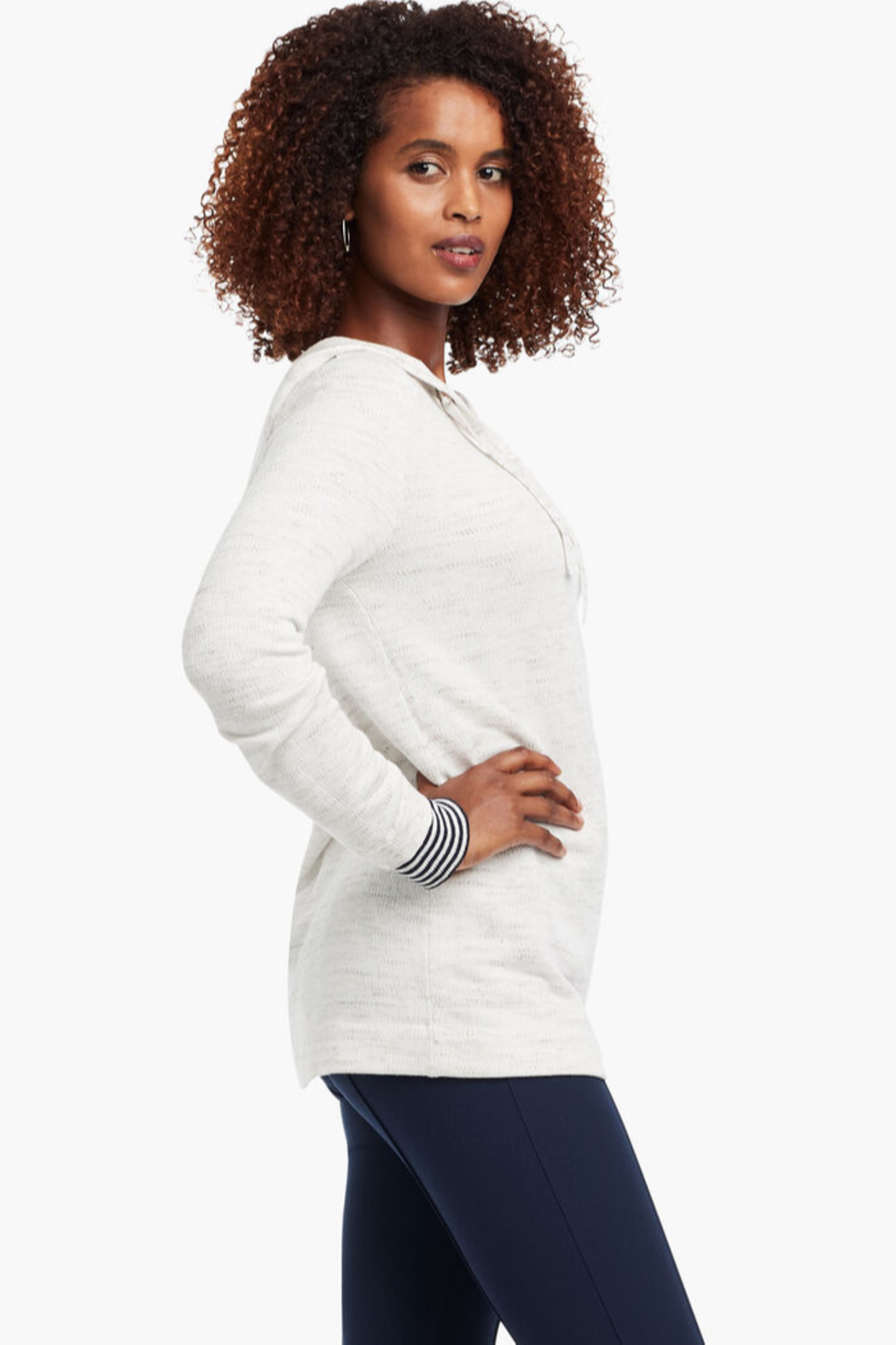 Nic + Zoe  Lace-up grommet hoodie, milk white. - Front Full Image