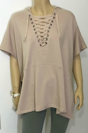 Charlie Paige Lace-Up Hooded Poncho - Front cropped