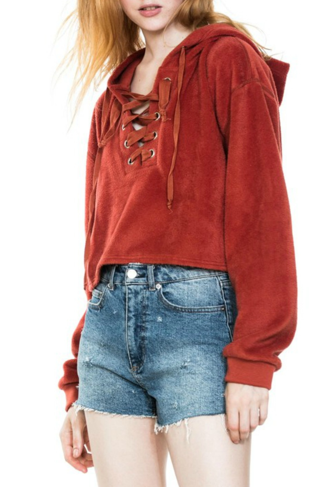 En Creme Lace Up Hoodie - Front Cropped Image