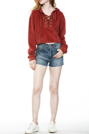 En Creme Lace Up Hoodie - Front full body