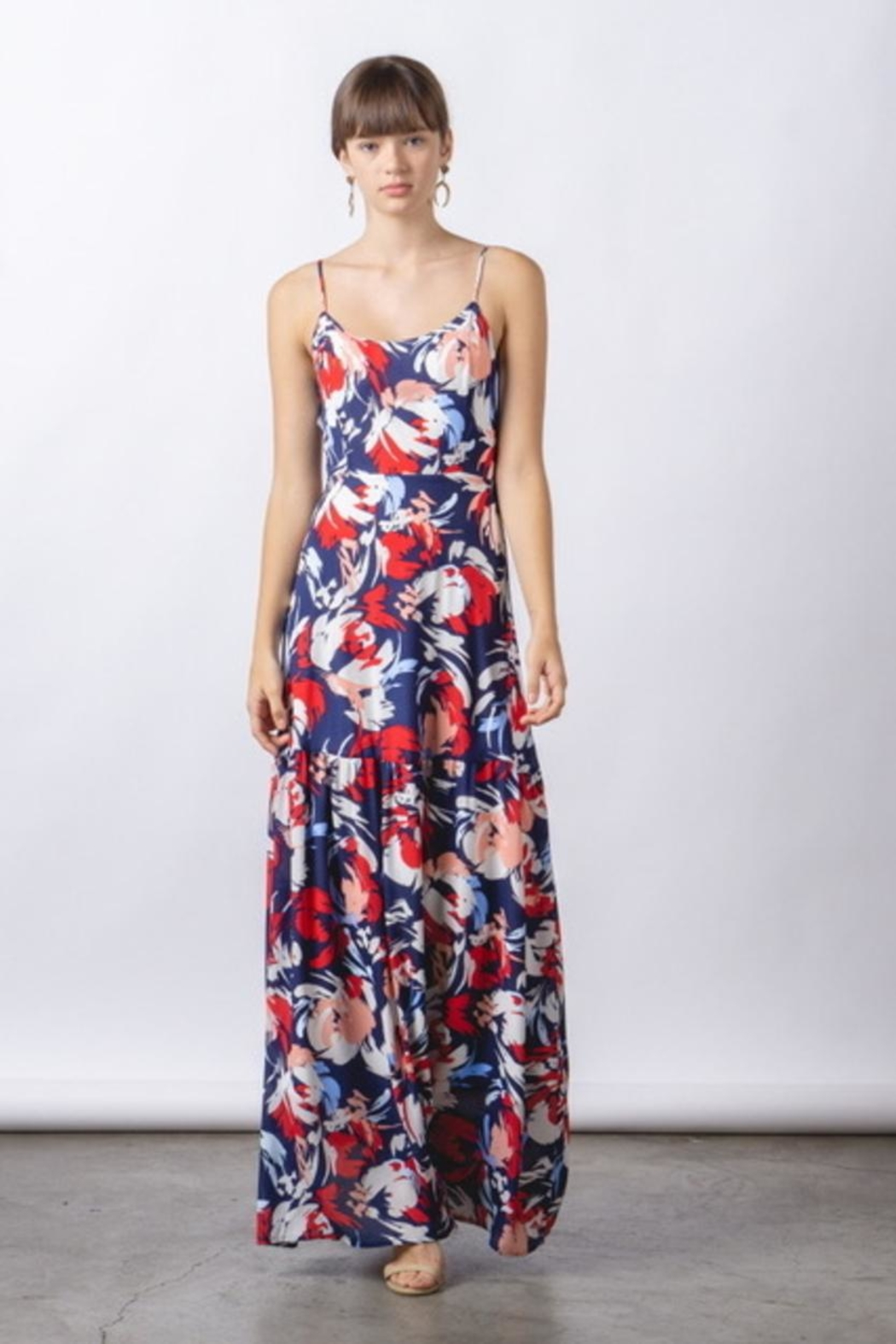 rokoko Lace Up Maxi - Front Cropped Image