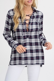 Wild Lilies Jewelry  Lace-Up Plaid Top - Product Mini Image