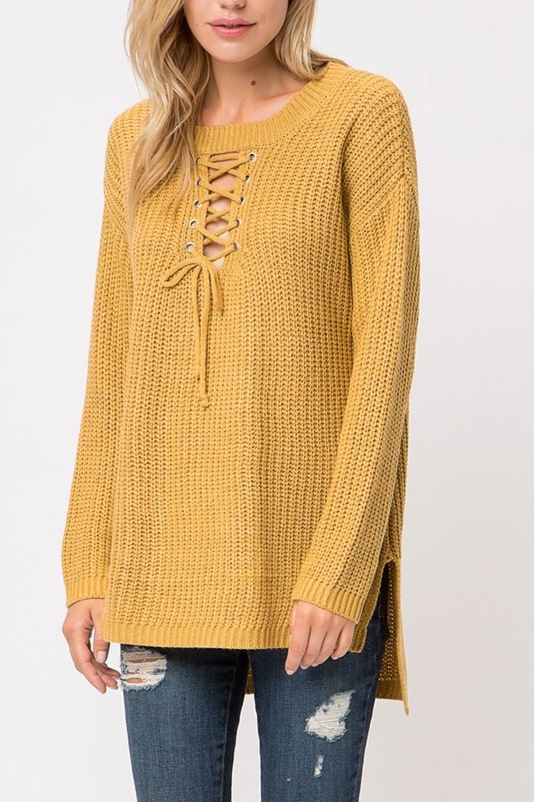 Cozy Casual  Lace-Up Pullover - Front Full Image
