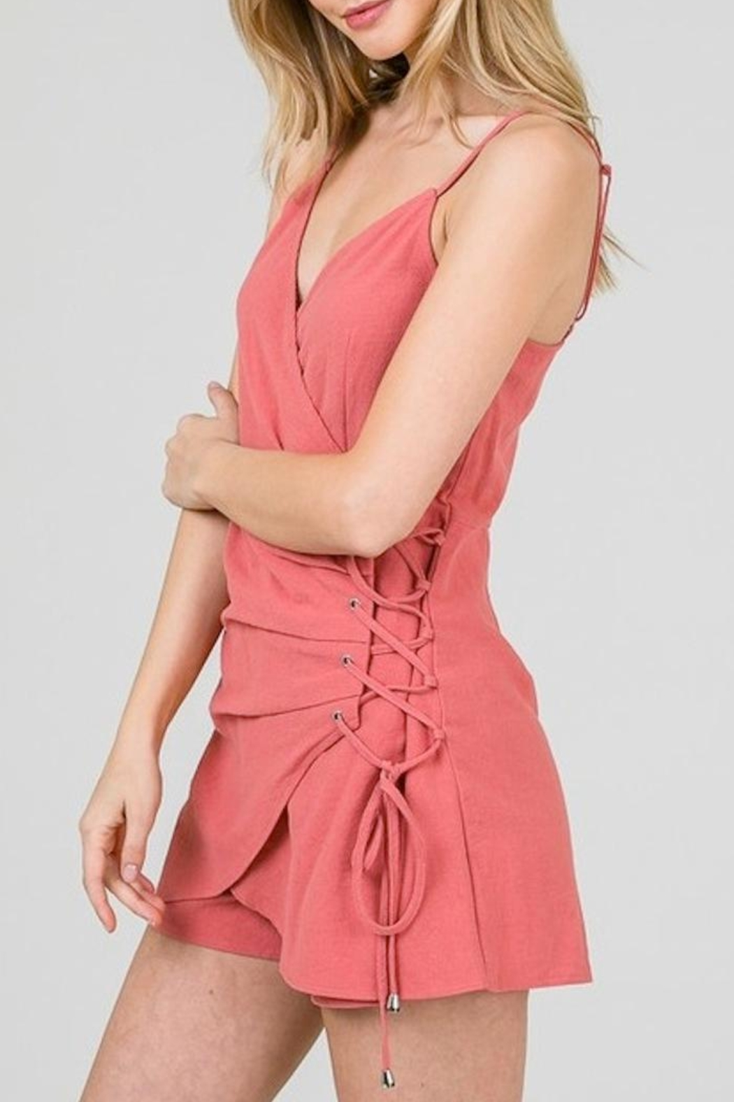 Yipsy Lace Up Romper - Front Full Image