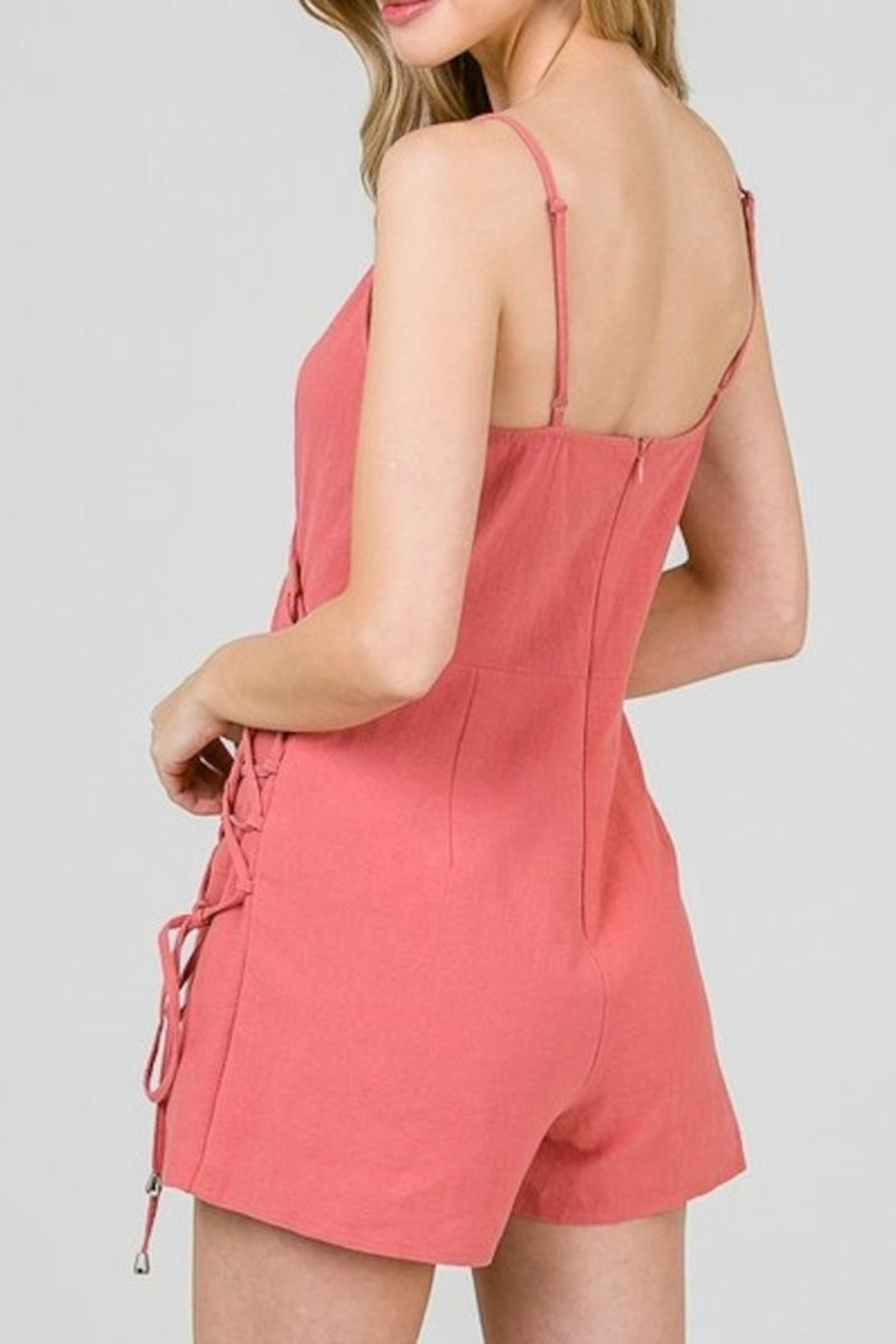 Yipsy Lace Up Romper - Side Cropped Image