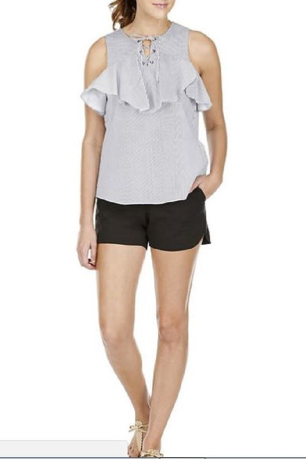Jade Lace-Up Ruffles Top - Front Cropped Image