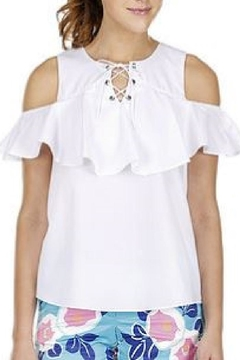 Jade Lace-Up Ruffles Top - Alternate List Image