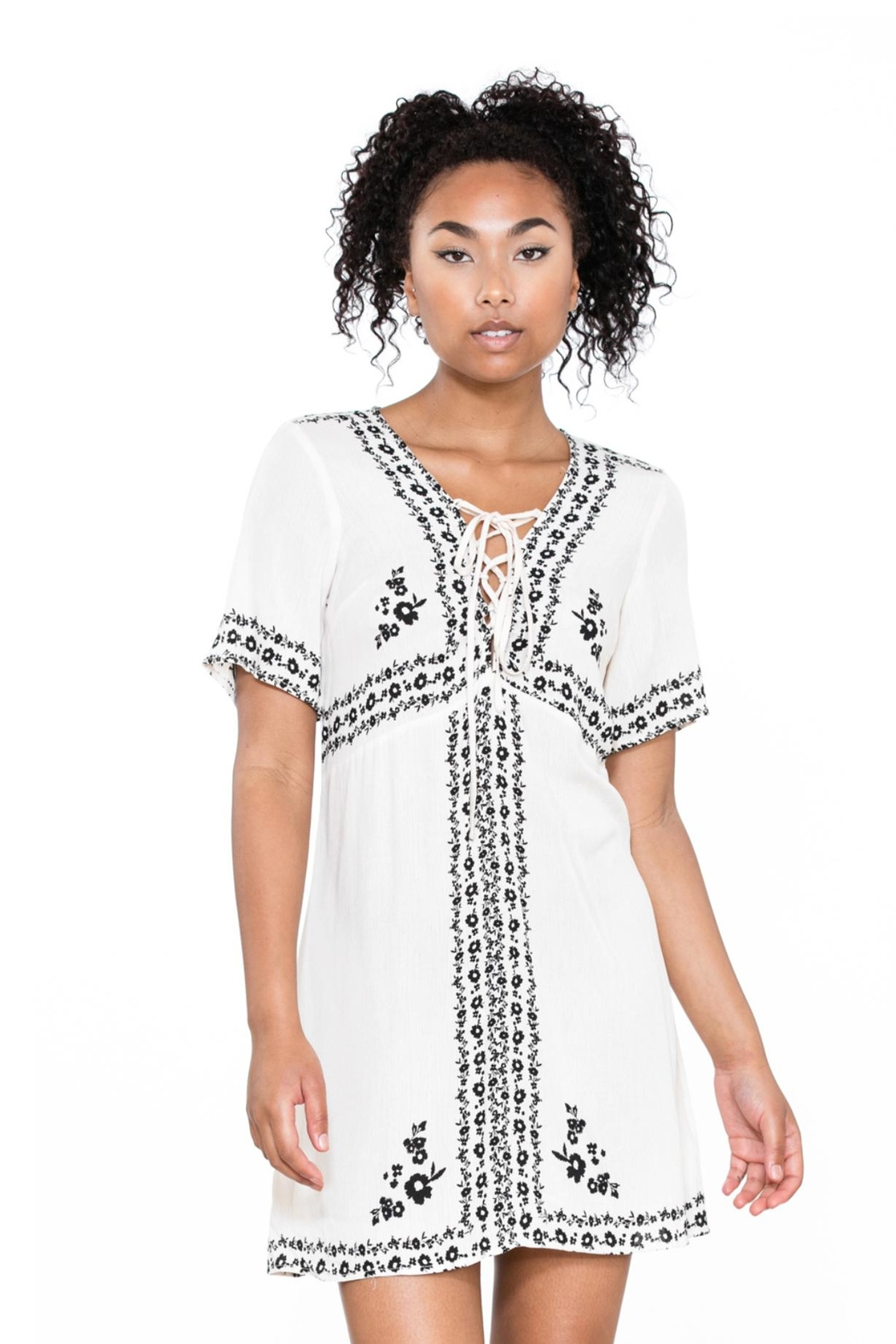 Ark & Co. Lace-Up Shirt Dress - Front Full Image