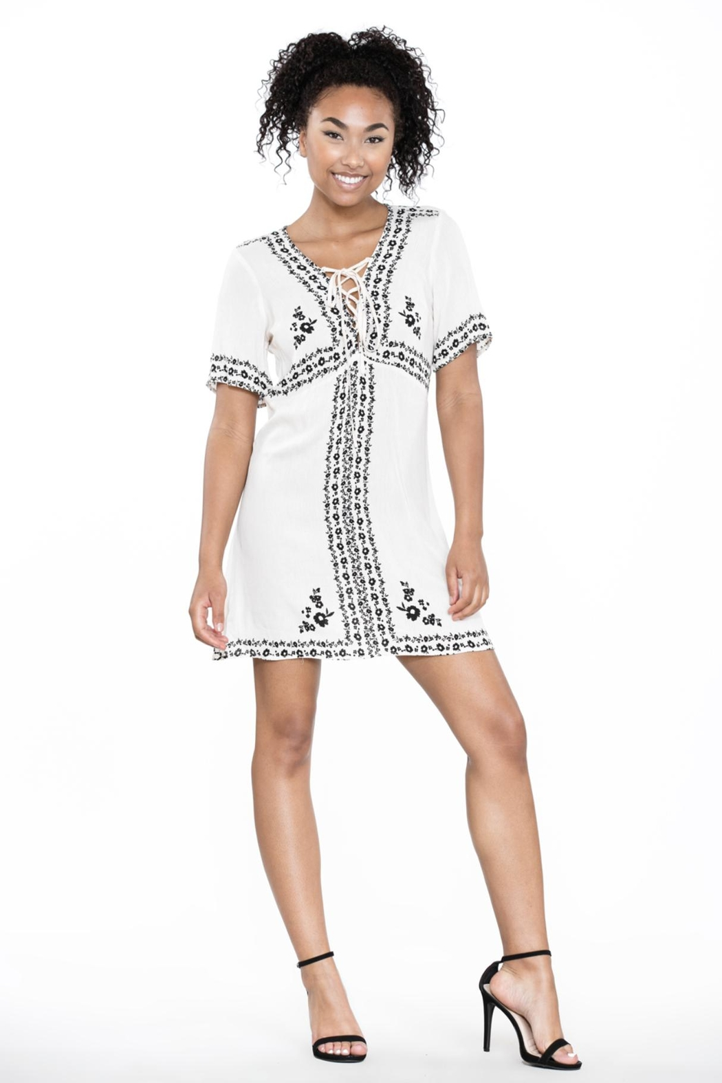 Ark & Co. Lace-Up Shirt Dress - Front Cropped Image