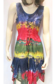 KIMBALS LACE-UP SHORT TIE DYE DRESS - Product Mini Image