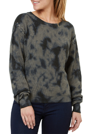 Numero Denim Lace Up Shoulder Seam Camo Sweater - Product Mini Image