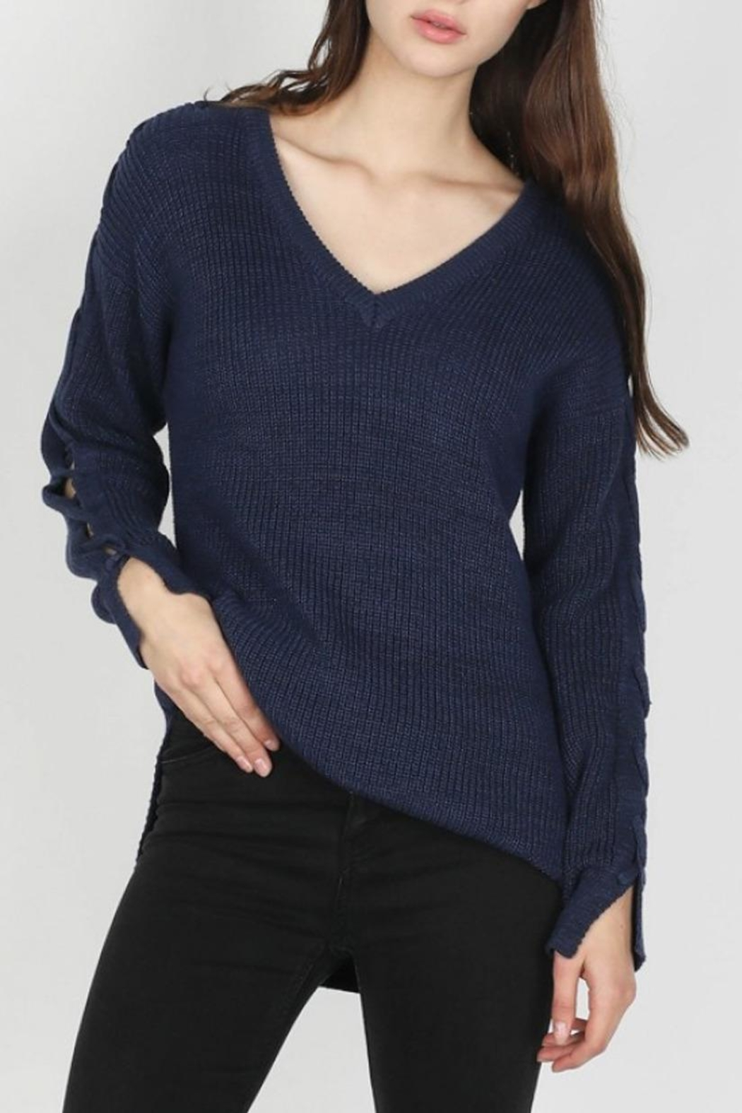 Skies Are Blue Lace-Up Sleeve Sweater - Front Cropped Image