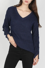 Skies Are Blue Lace-Up Sleeve Sweater - Front cropped