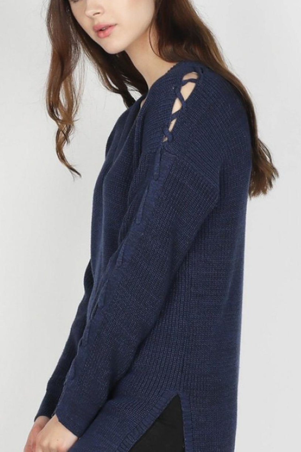 Skies Are Blue Lace-Up Sleeve Sweater - Front Full Image
