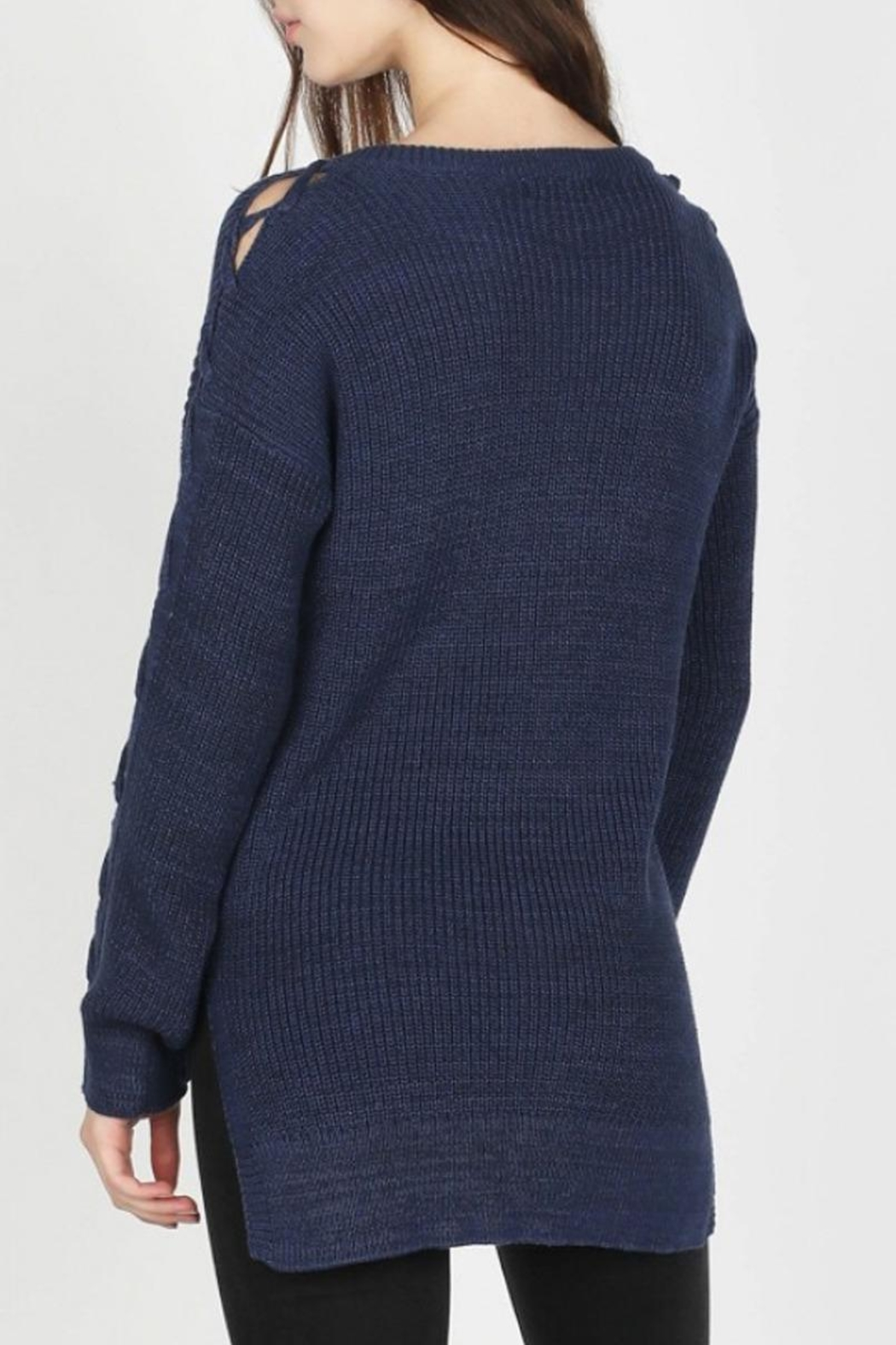 Skies Are Blue Lace-Up Sleeve Sweater - Side Cropped Image