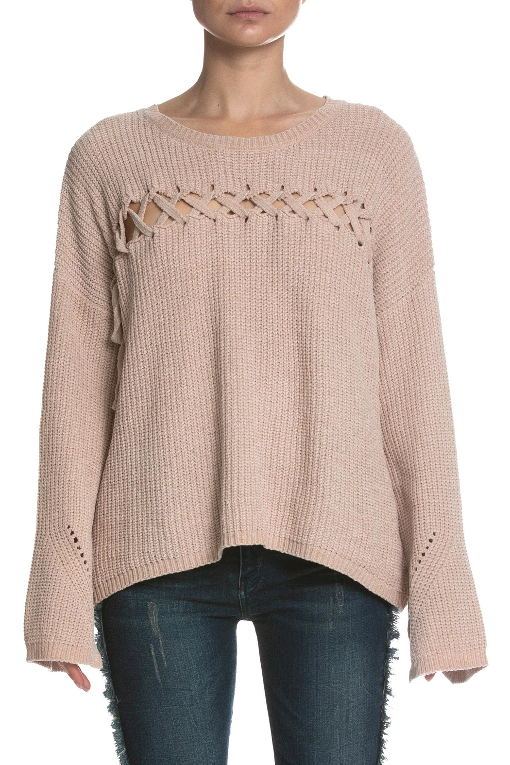 Elan Lace Up Sweater - Main Image