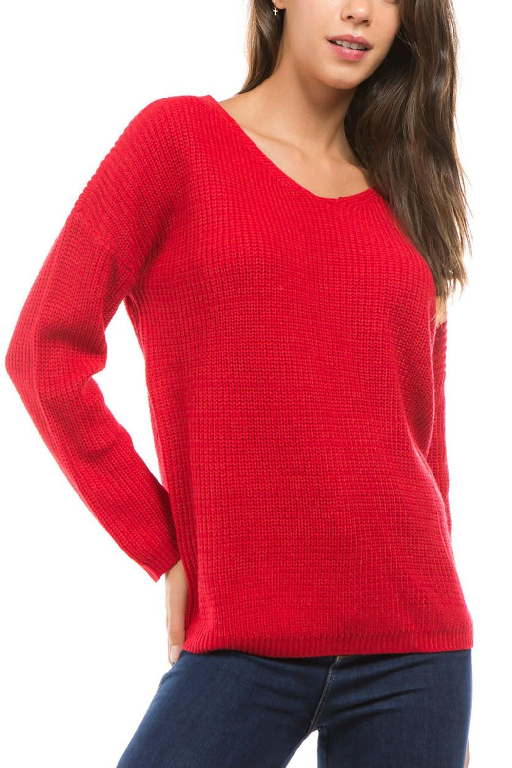 1 Funky Lace Up Sweater - Front Full Image