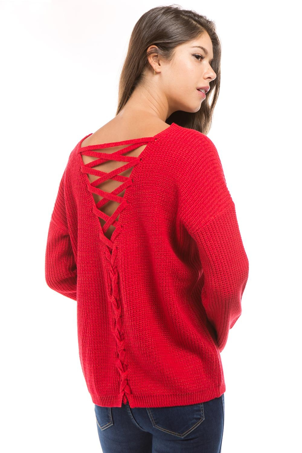 1 Funky Lace Up Sweater - Front Cropped Image