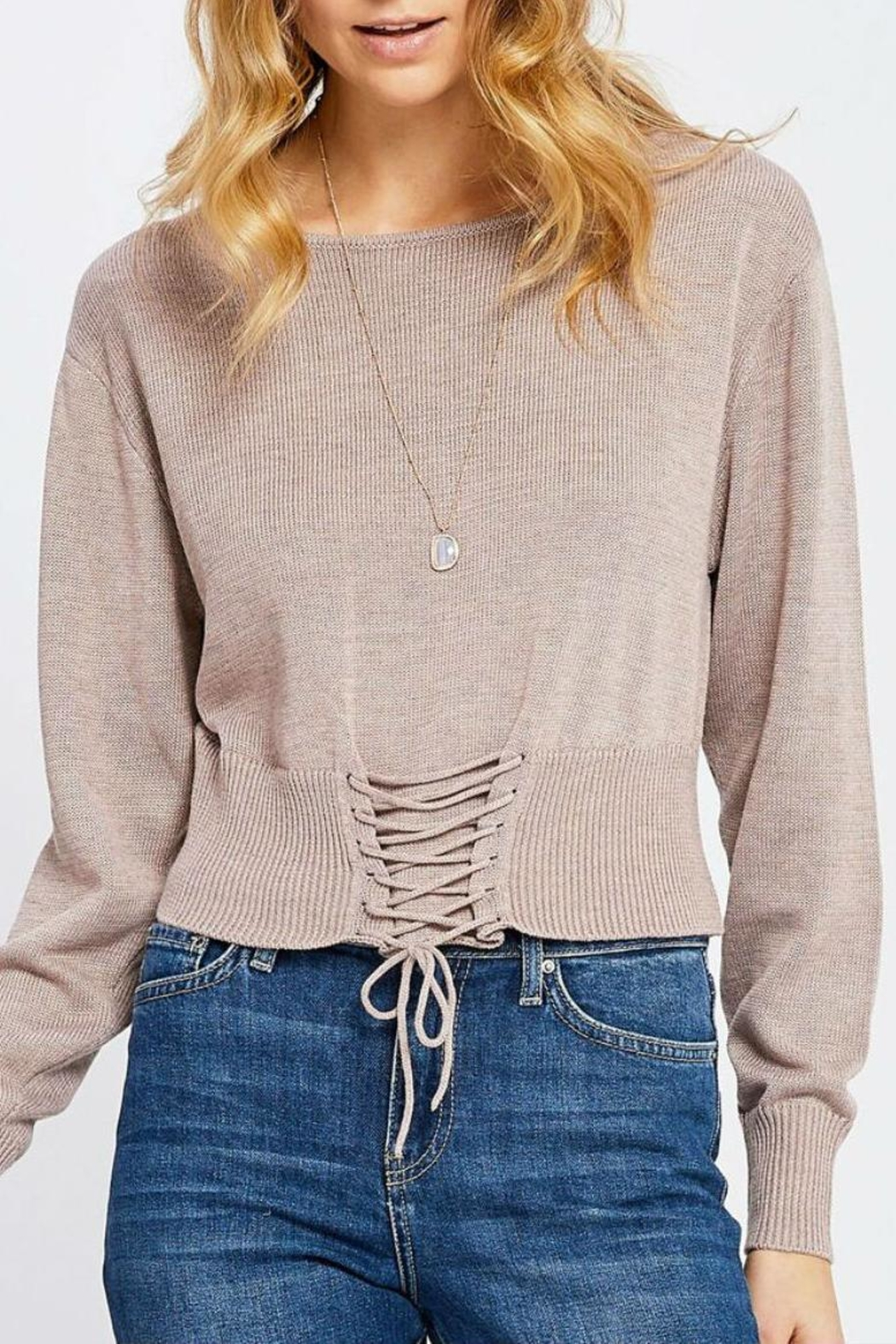 7a53adf96b5 Gentle Fawn Lace Up Sweater from Florida by Walter Green — Shoptiques
