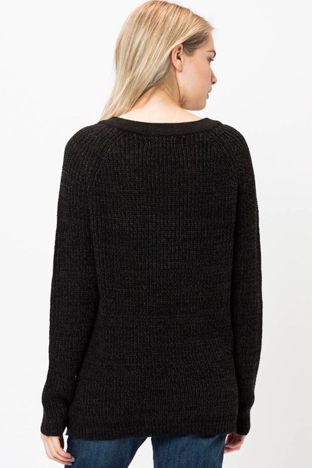 Love Tree Lace Up Sweater - Side Cropped Image