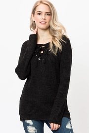 Love Tree Lace Up Sweater - Front cropped
