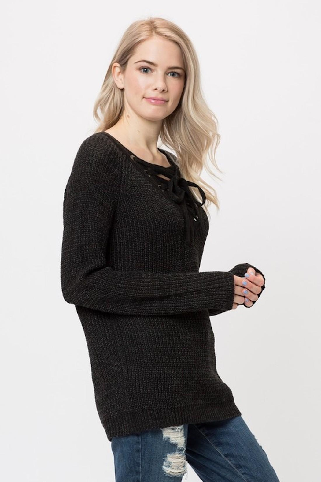 Love Tree Lace Up Sweater - Front Full Image