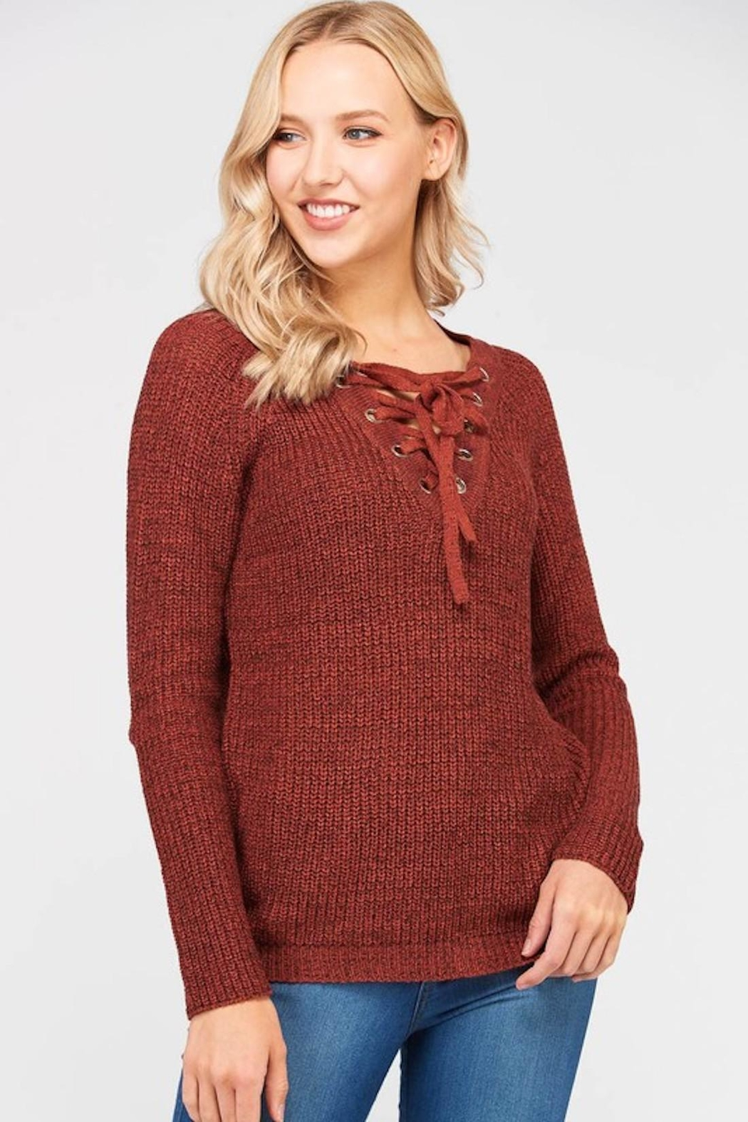 Love Tree Lace Up Sweater - Main Image
