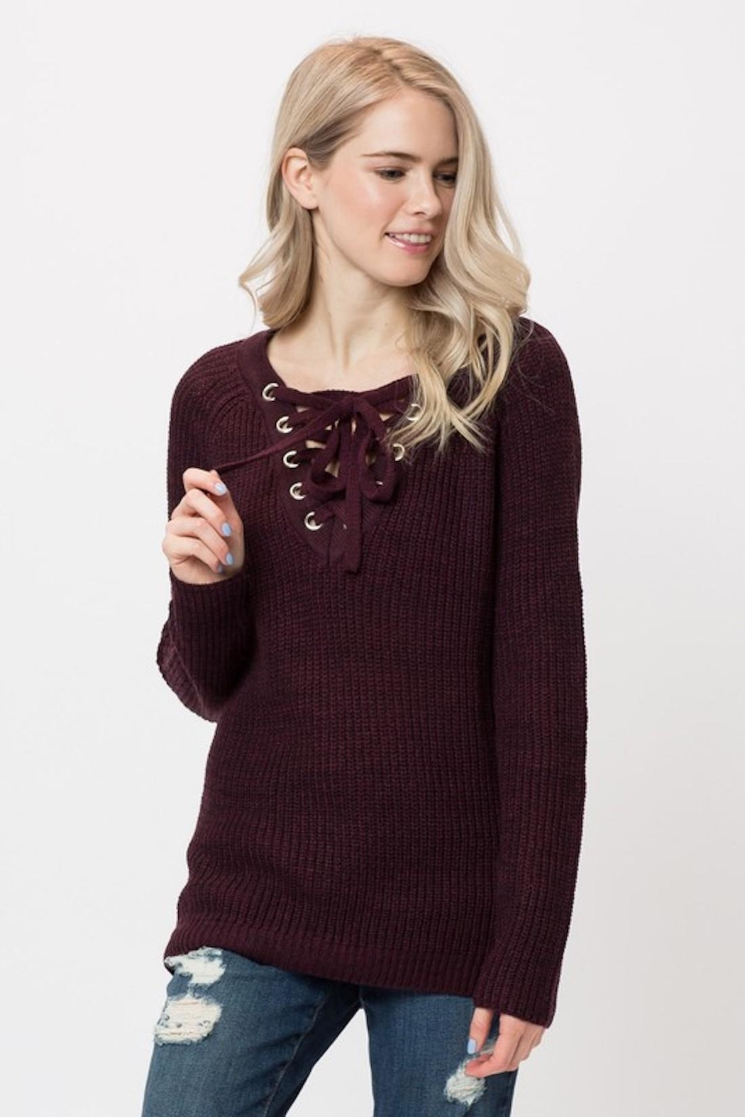 Love Tree Lace Up Sweater - Front Cropped Image