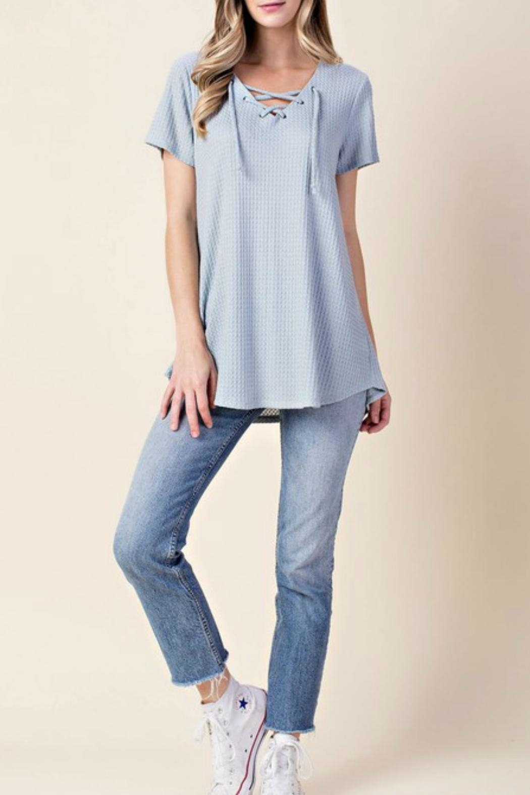 KORI AMERICA Lace Up Top - Front Cropped Image