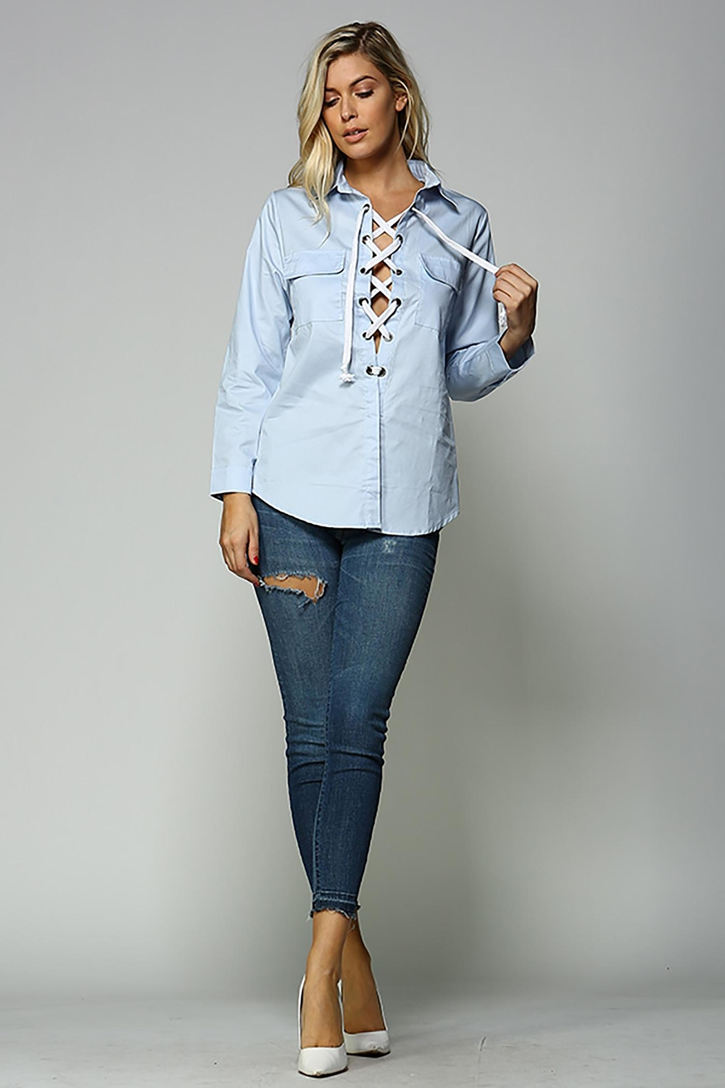 Racine Lace Up Top - Front Full Image