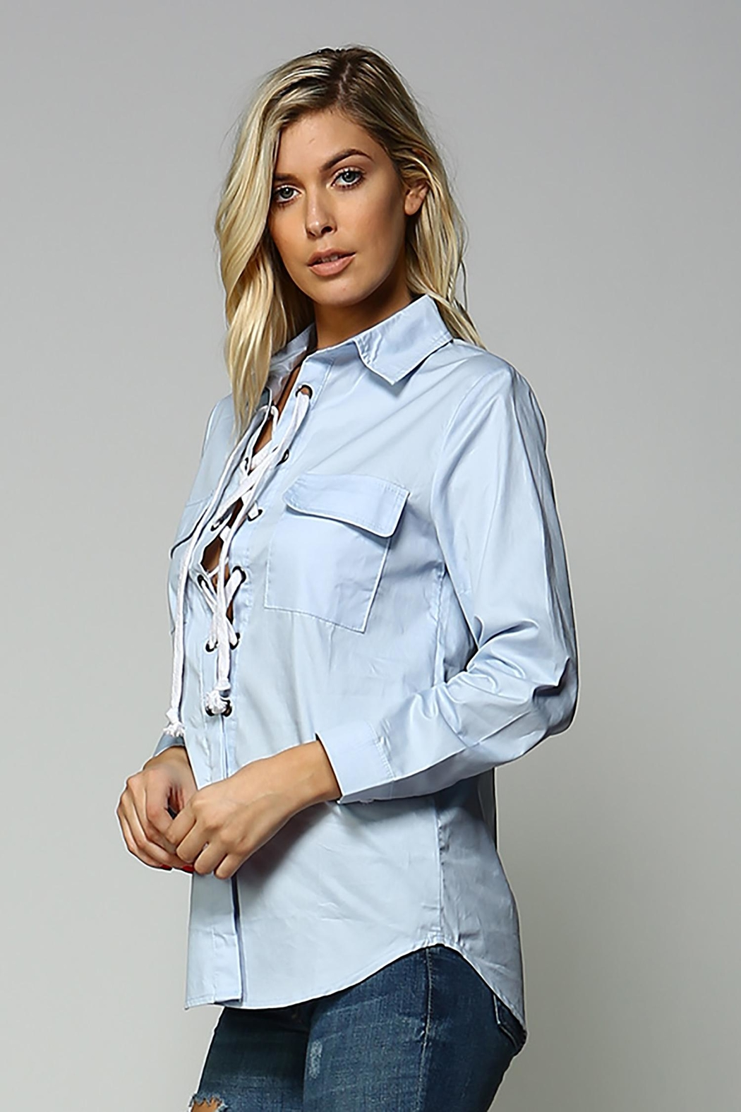 Racine Lace Up Top - Side Cropped Image