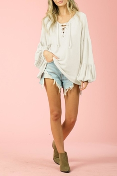 Blue Buttercup Lace-Up Waffle Knit Top - Product List Image